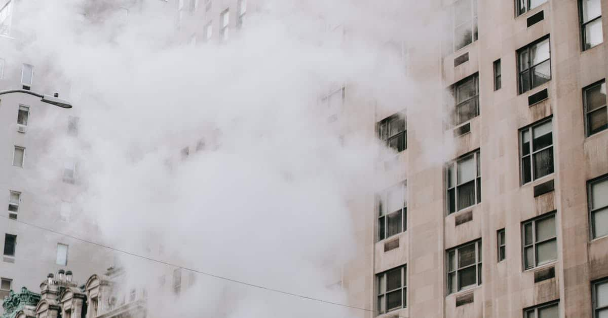 A building with smoke coming out of it